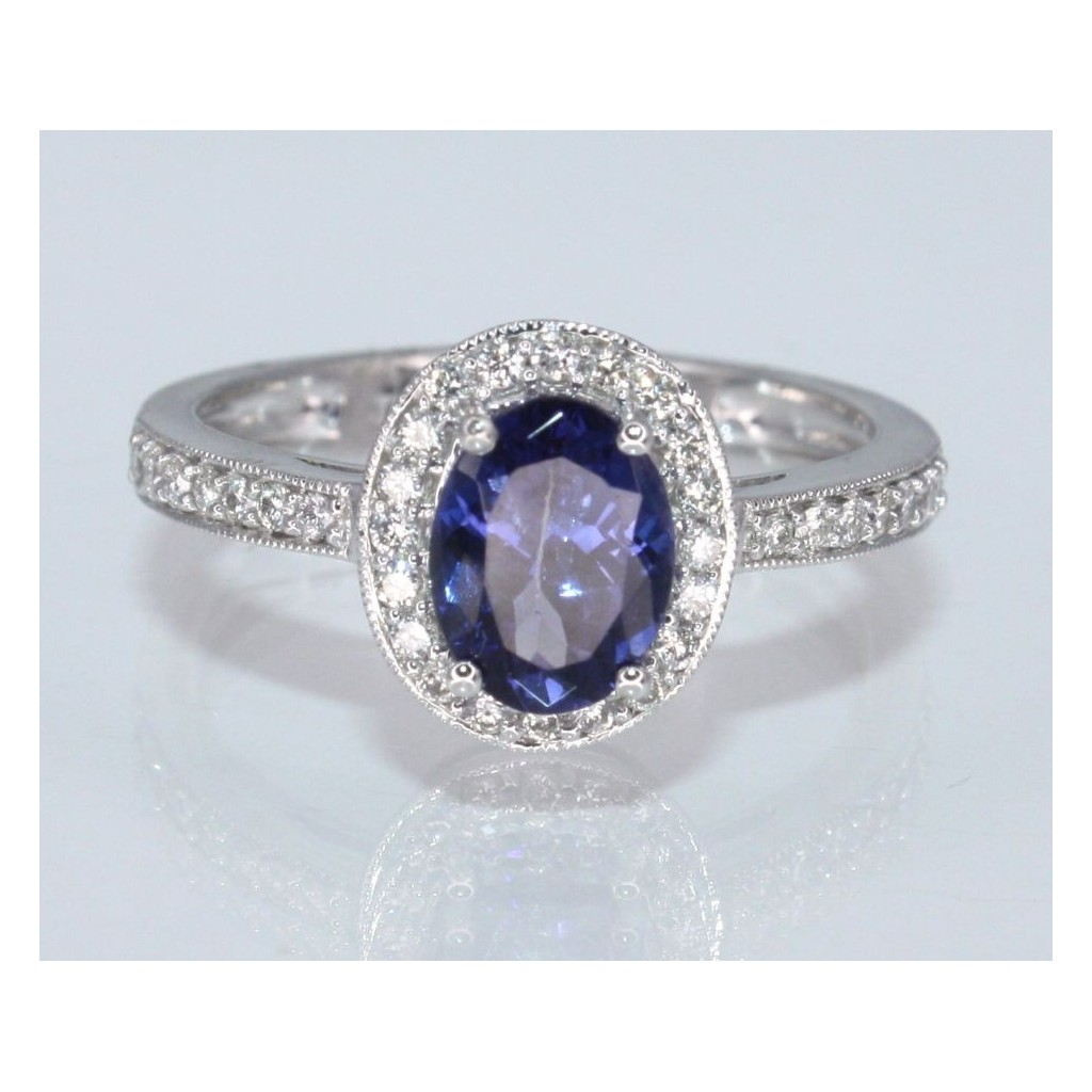 TANZANITE RING WITH 1.28 CARAT TANZANITE &.25 CARAT DIAMONDS