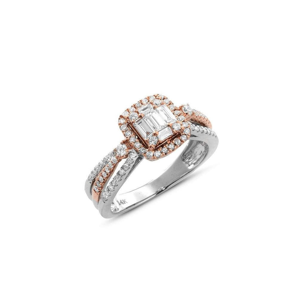 Two-Tone Engagement Ring with 1.00 Carats