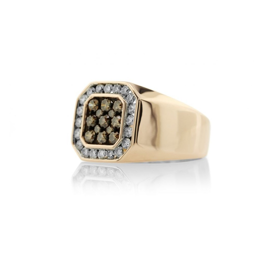14KT MENS RING WITH 0.94 BROWN DIA & 0.80CT DIAMONDS