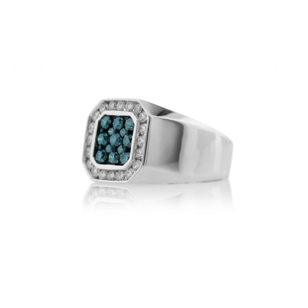 14KT MENS RING WITH 0.90BLUE DIA & 0.80CT WHITE DIAMONDS