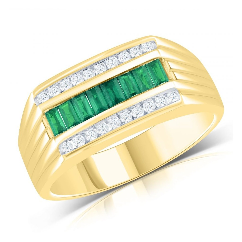 14KT MENS RING WITH 0.57CT EMERALD & 0.65CT DIAMONDS