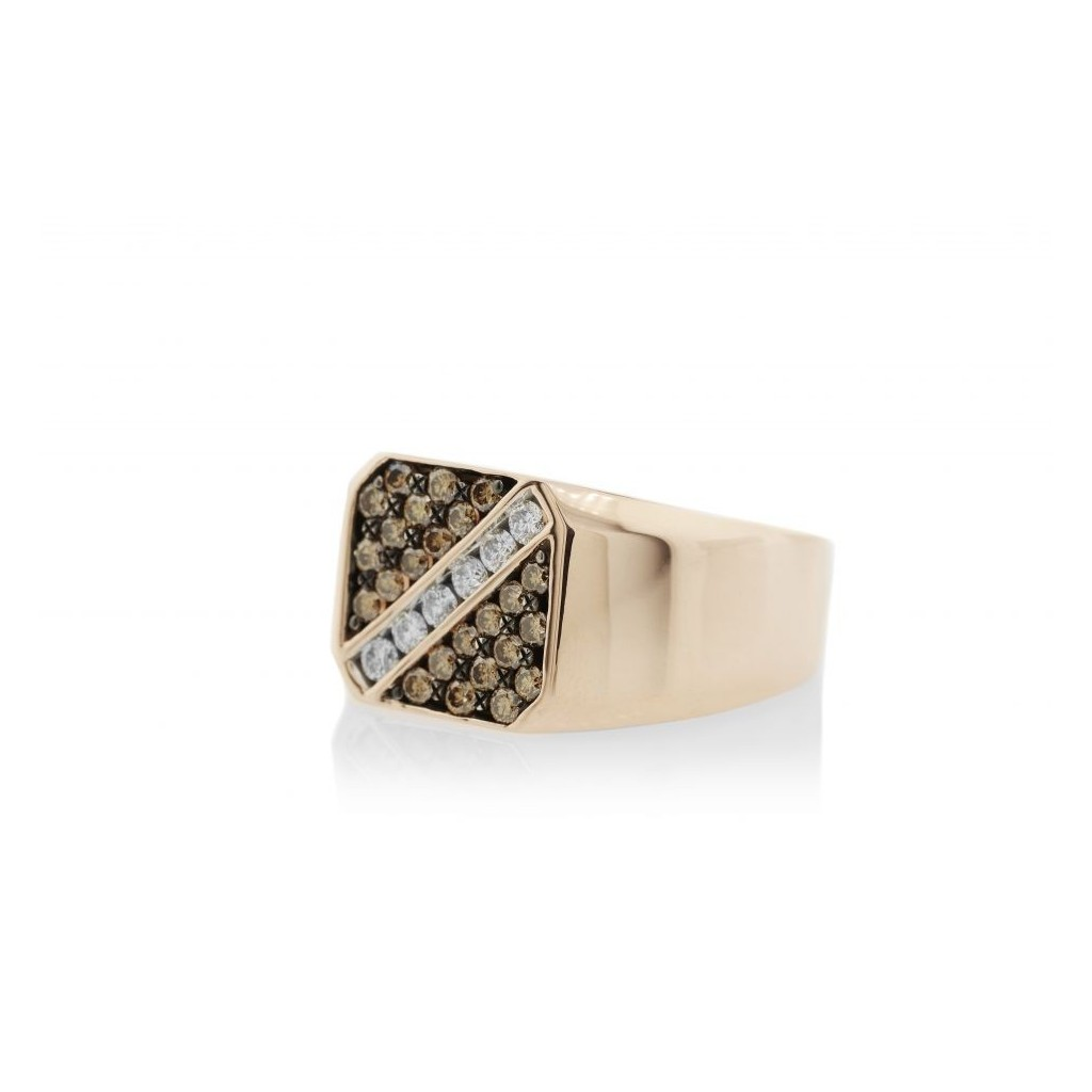 14KT MENS RING WITH 0.71CT BROWN DIA & 0.29CT DIAMOND