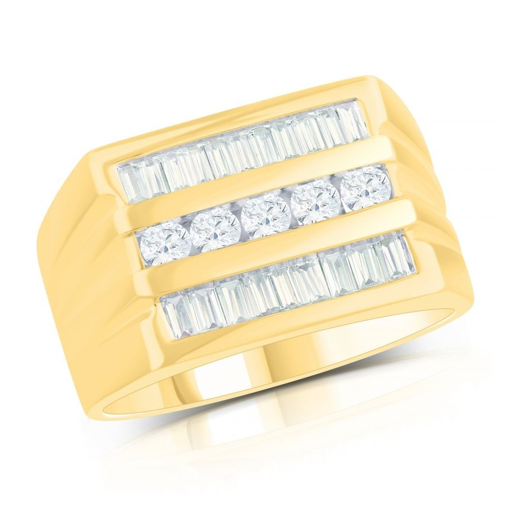 14KT MENS RING WITH 1.27CT DIAMONDS