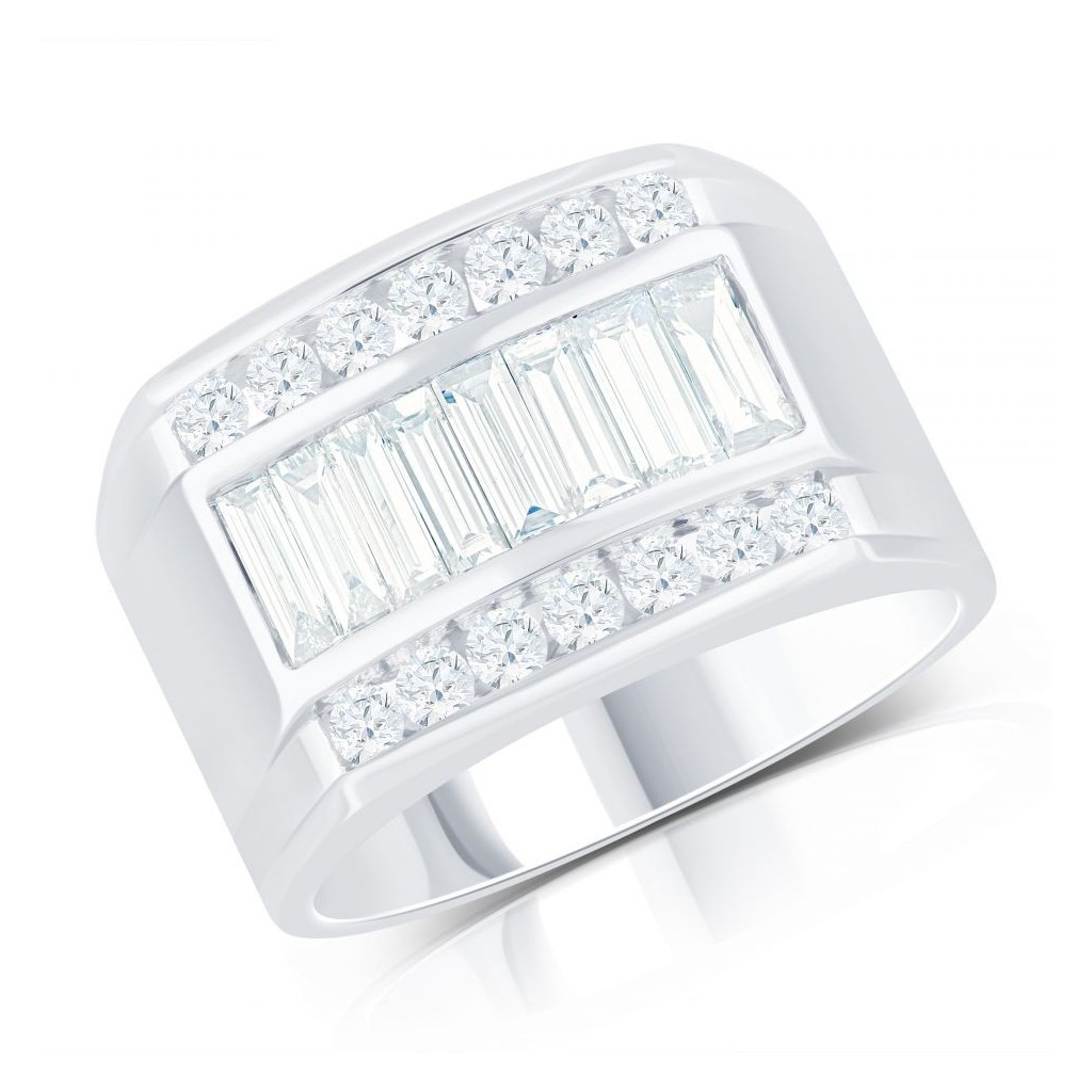 14KT MENS RING WITH 1.81CT DIAMONDS