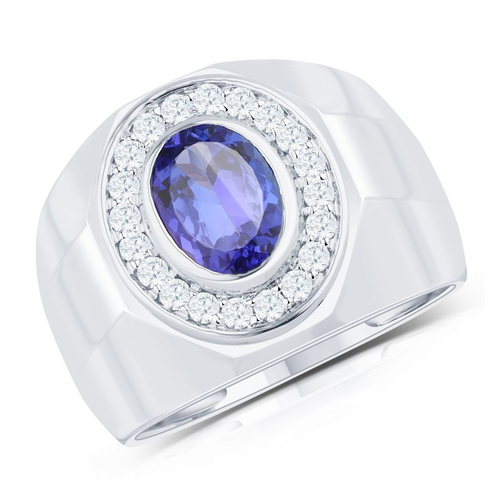 14KT MENS 2.29CT TANZANITE &0.49CT DIAMONDS