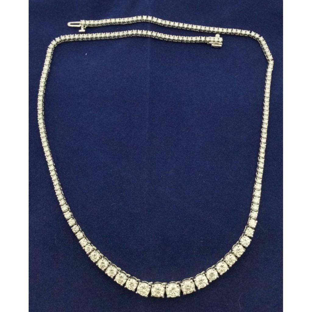 White 14k Diamond Necklace 9.00Tw Rd Shape Diamond