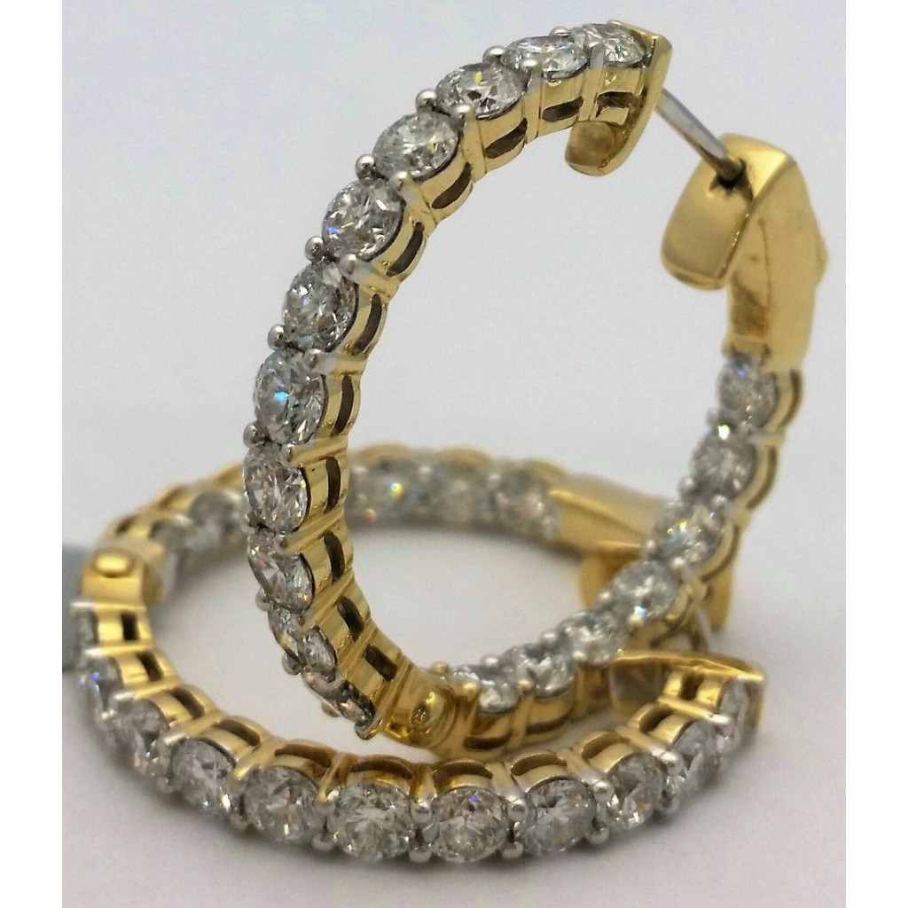 Yellow 14k Diamond Earring with   5.89Tw Round  Diamond