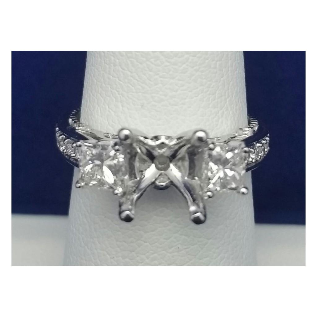 White 14k Diamond Ring with   0.32Tw Princess Cut Diamond and   0.22Tw Round Shape Diamond