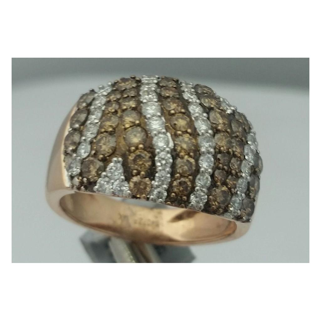 Rose 14k Diamond Ring 1.53Tw Round Shape Brown Diamond 0.62Tw Round