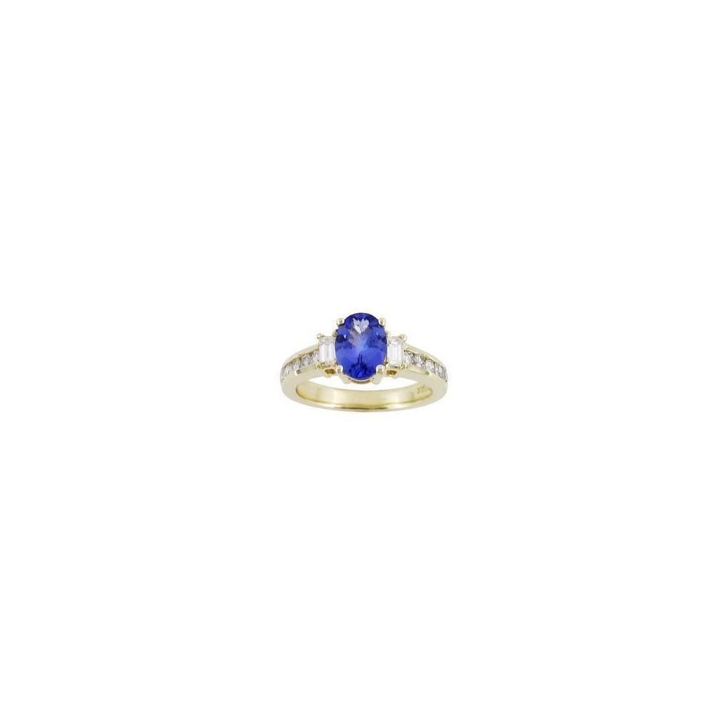 14k yellow gold ring 1.48ct Tanzanite and 0.61ct Diamond