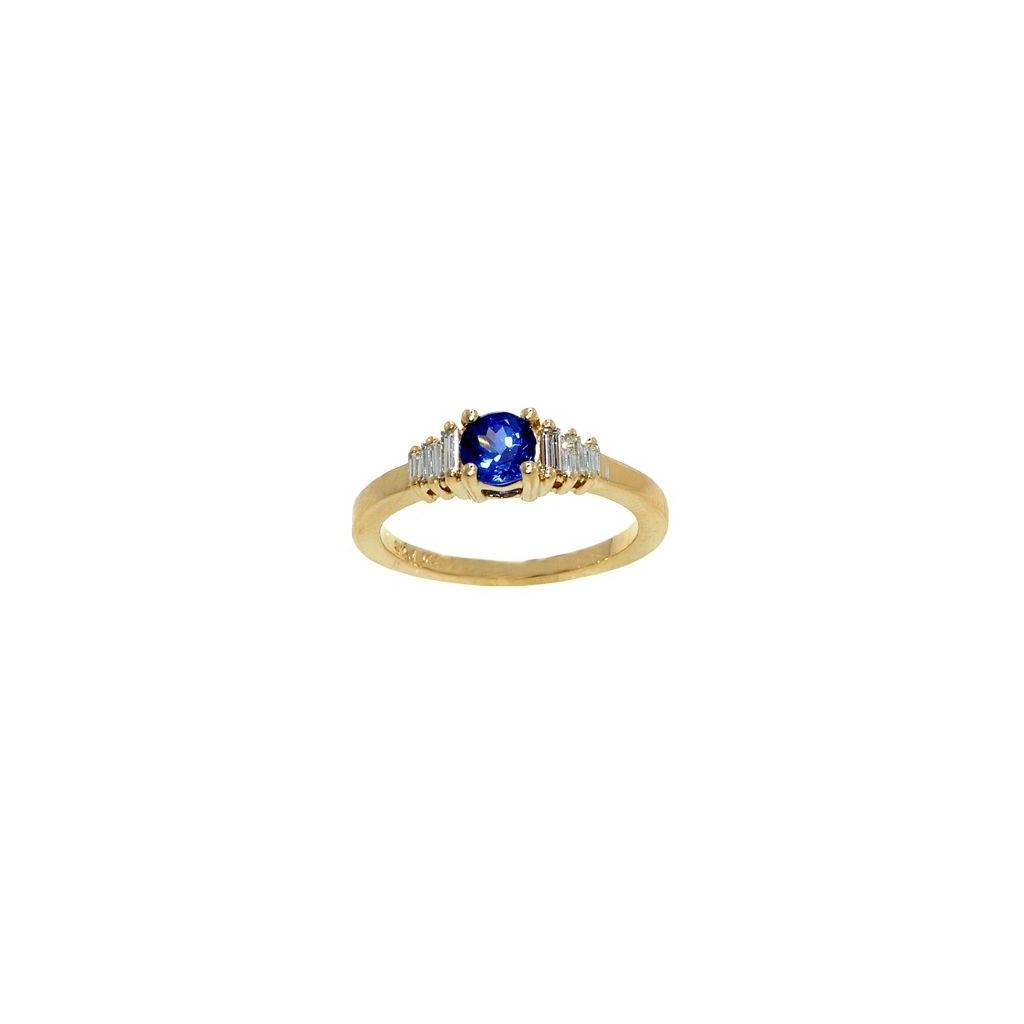 14k yellow gold ring 0.56ct Tanzanite and 0.25ct Diamond