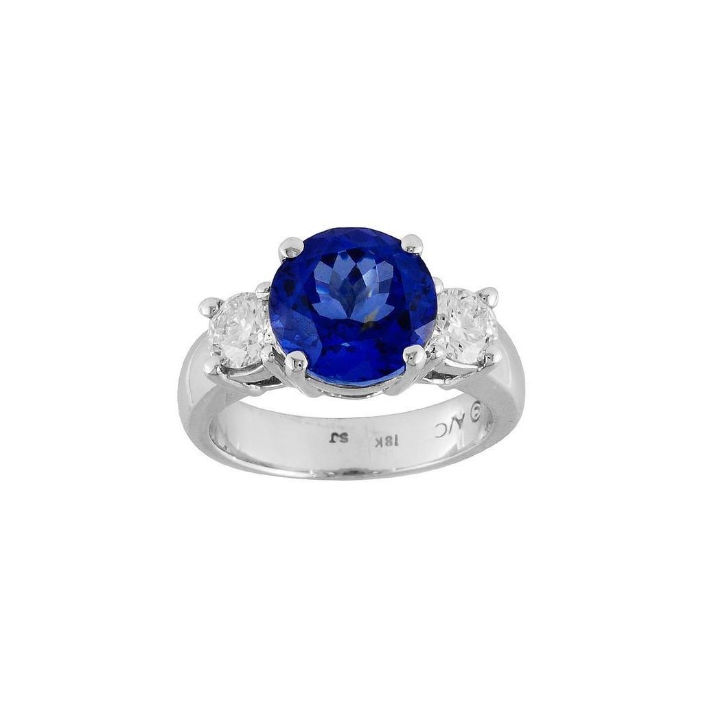 18k white gold ring 4.94ct Tanzanite and 0.88ct Diamond