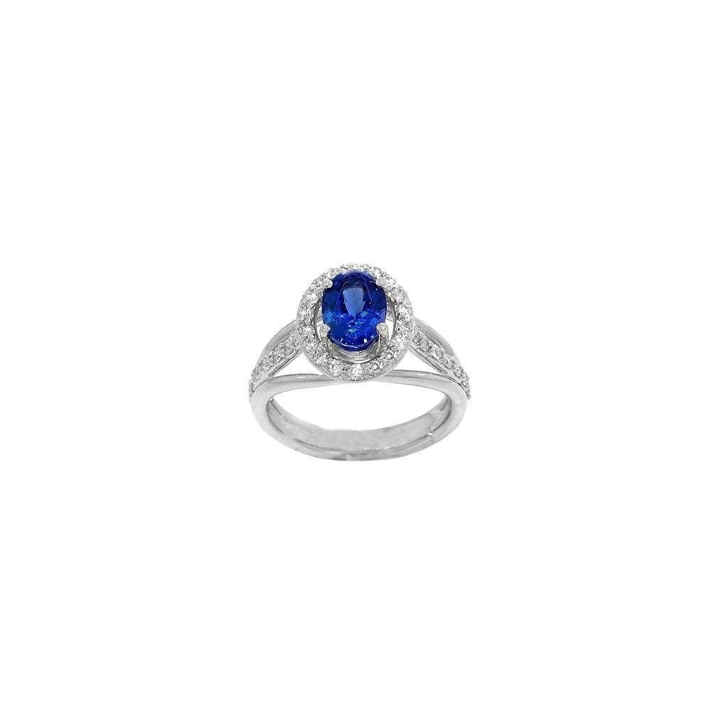 18k white gold ring 1.33ct Tanzanite and 0.55ct Diamond