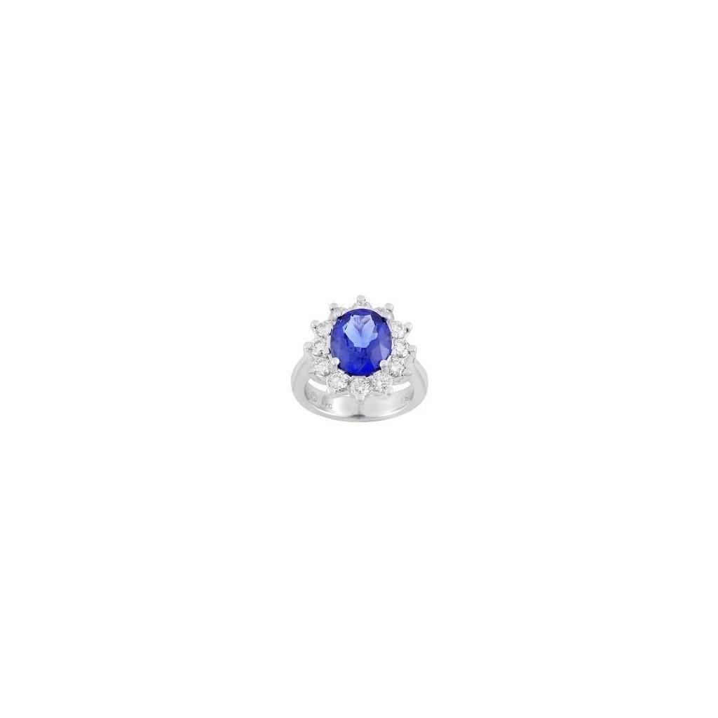 18k white gold ring 3.74ct Tanzanite and 1.62ct Diamond