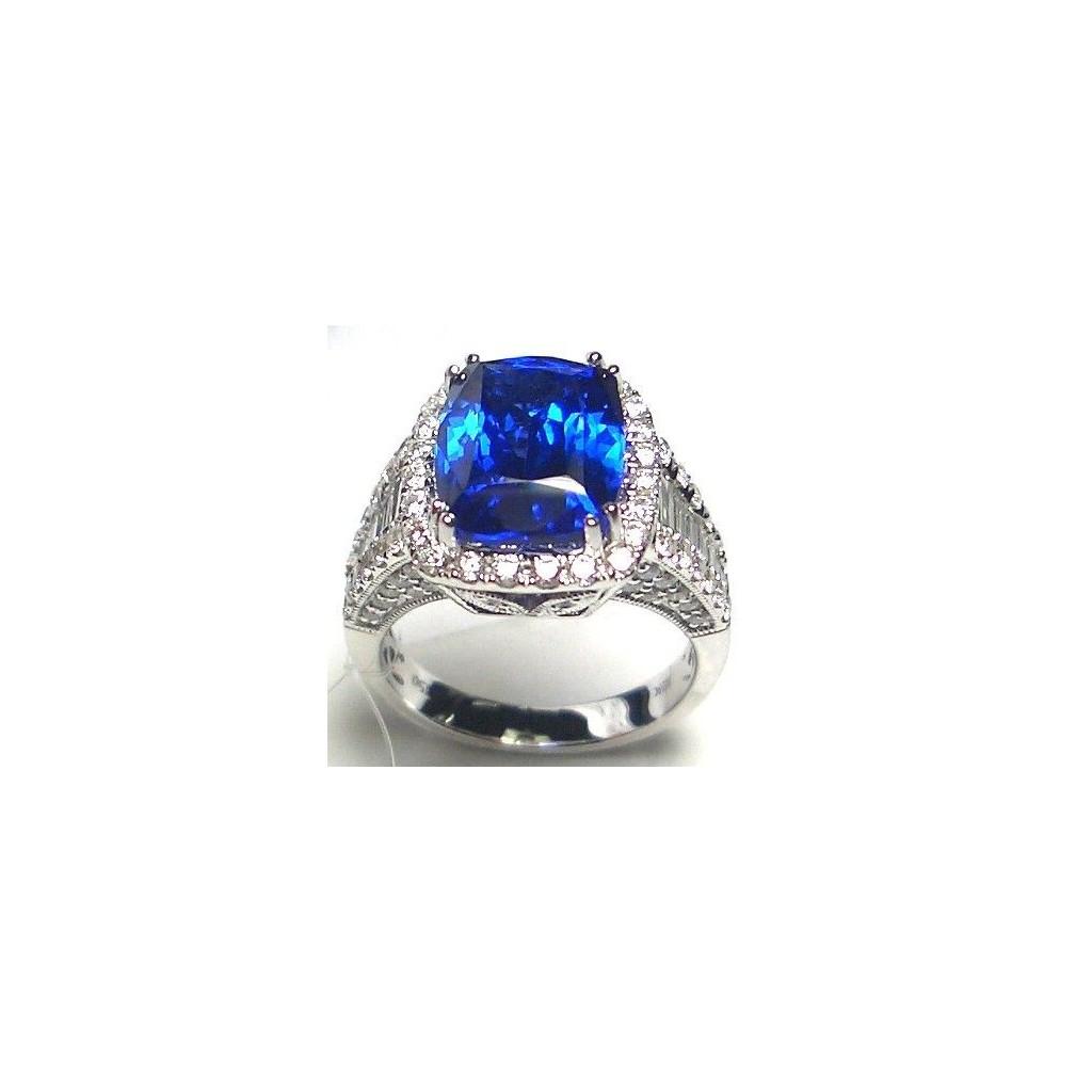 18k white gold ring 7.63ct Tanzanite and 1.75ct Diamond