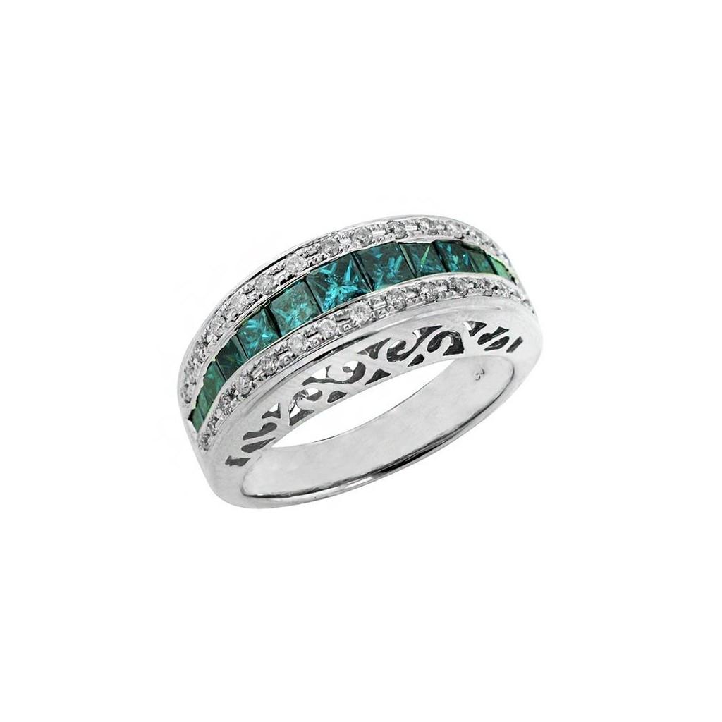 14k white gold ring 1.21ct Blue Diamond and 0.30ct Diamond
