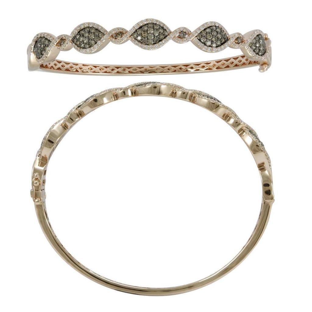 14k rose gold bracelet 1.16ct Champagne Diamond and 0.90ct Diamond