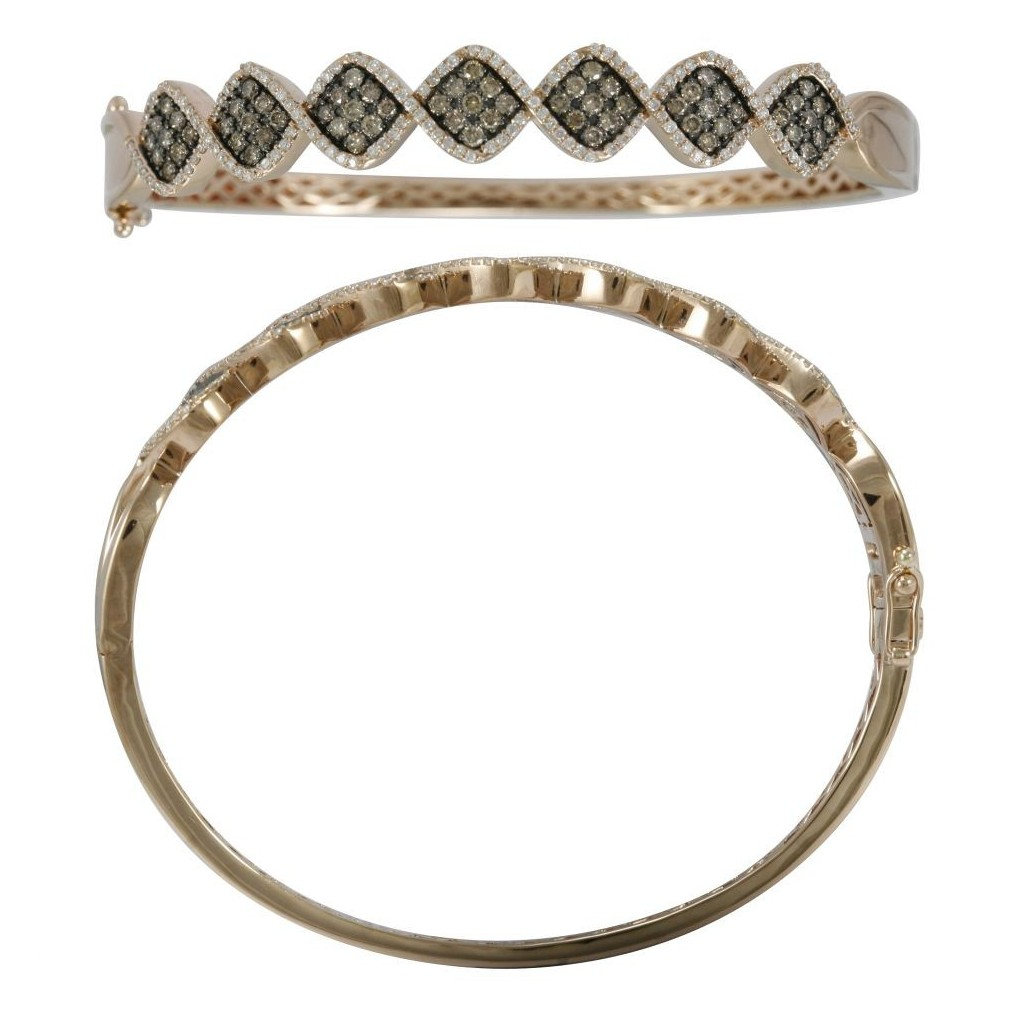 14k rose gold bracelet 1.23ct Champagne Diamond and 1.87ct Diamond