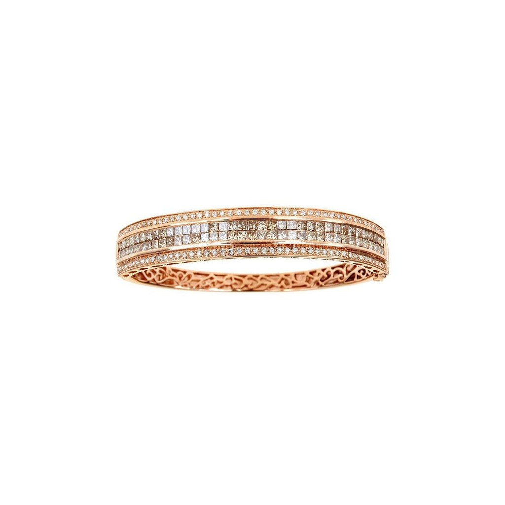 14k rose gold bracelet 4.80ct Champagne Diamond and 0.65ct Diamond