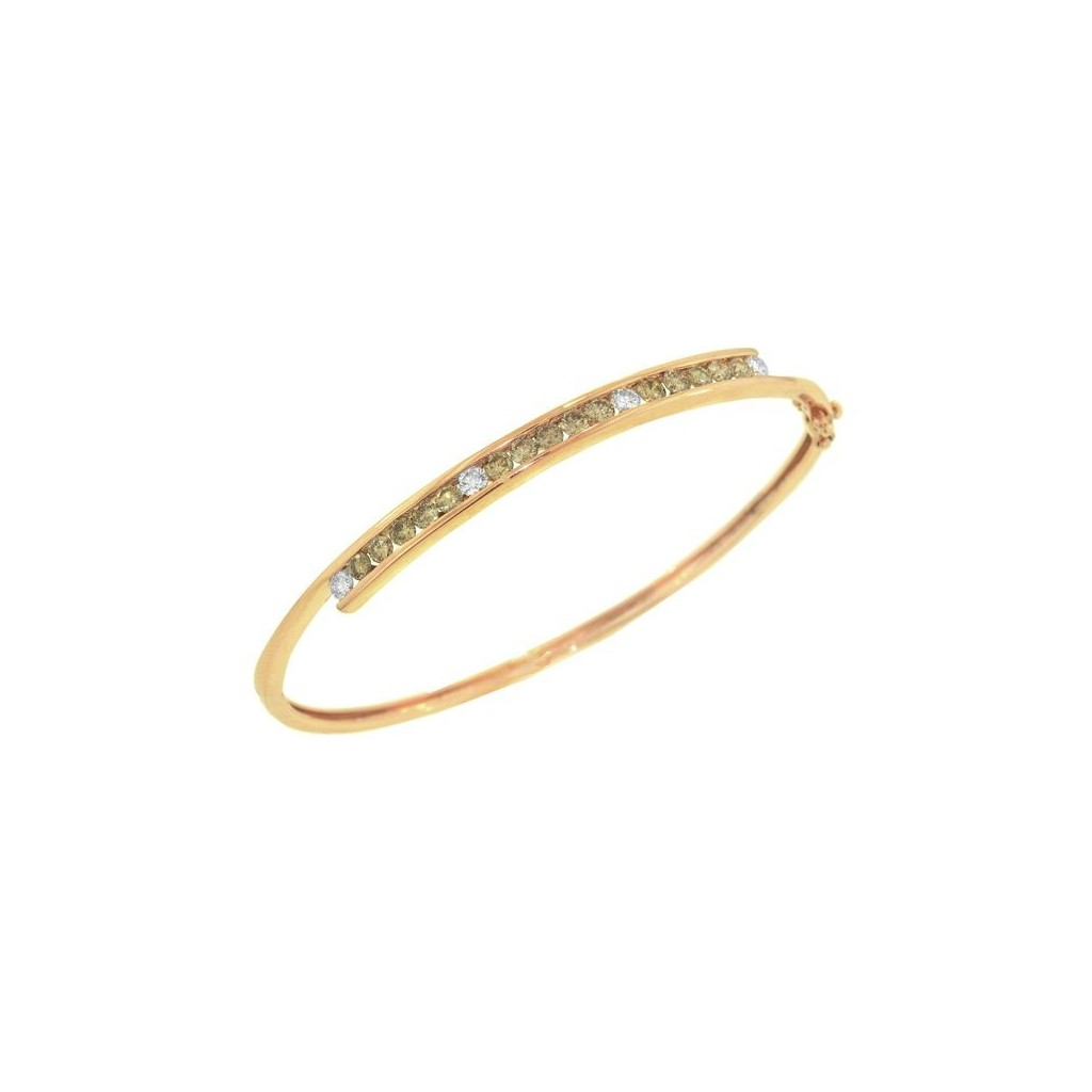 14k yellow gold bracelet 1.35ct Champagne Diamond and 0.35ct Diamond