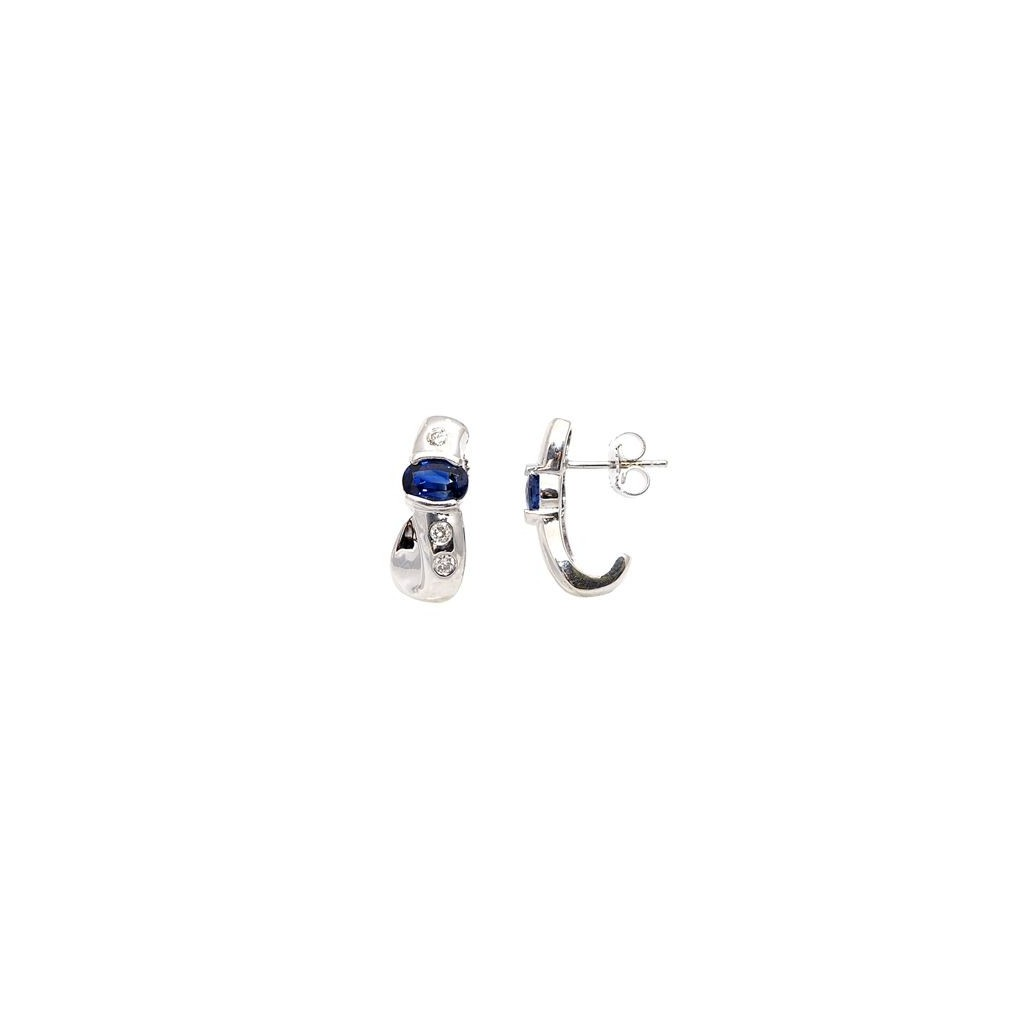Sapphire Diamond Earrings with 1.41 Carats