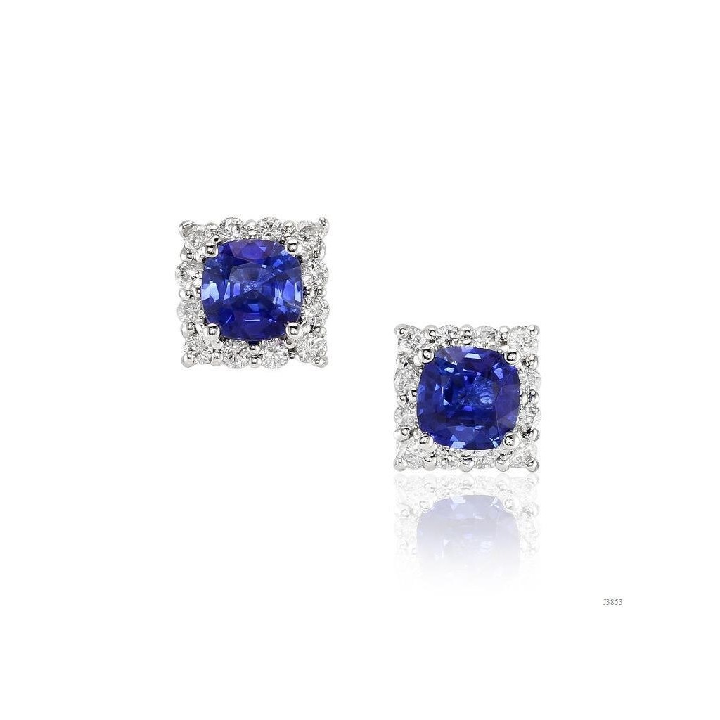 Sapphire Diamond Earrings with 2.37 Carats