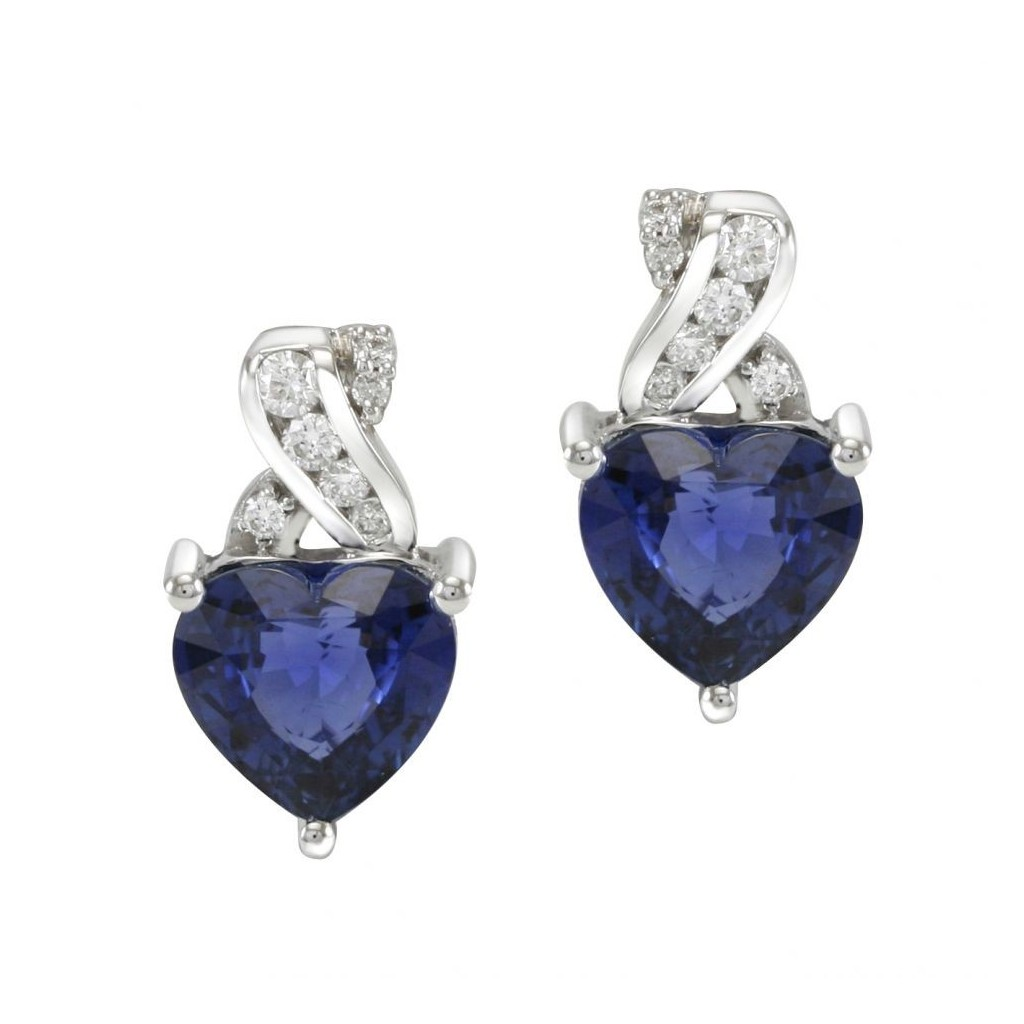 Sapphire Diamond Earrings with 7.34 Carats