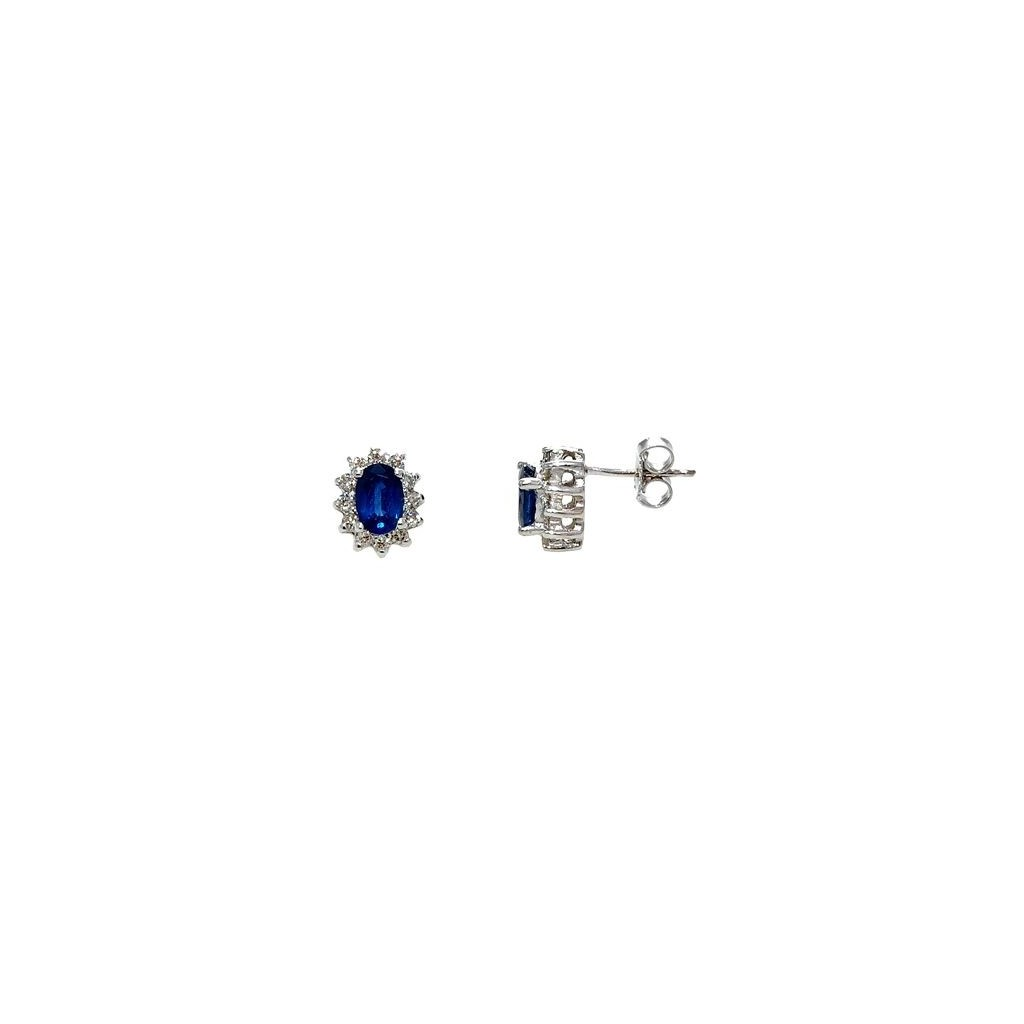Sapphire Diamond Earrings with 1.58 Carats