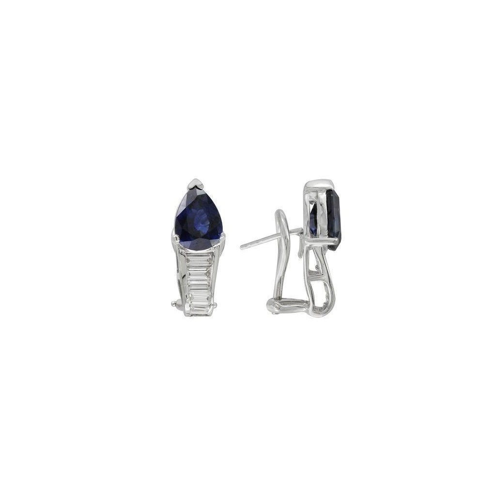 Sapphire Diamond Earrings with 5.34 Carats