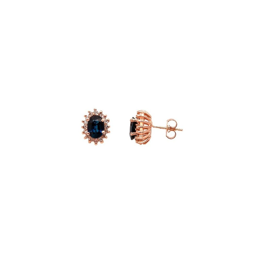 Sapphire Diamond Earrings with 2.40 Carats