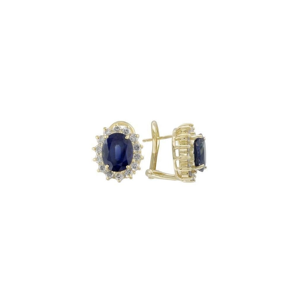 Sapphire Diamond Earrings with 6.95 Carats