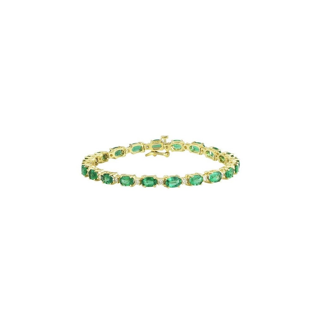 14k yellow gold bracelet 9.03ct Emerald and 0.84ct Diamond