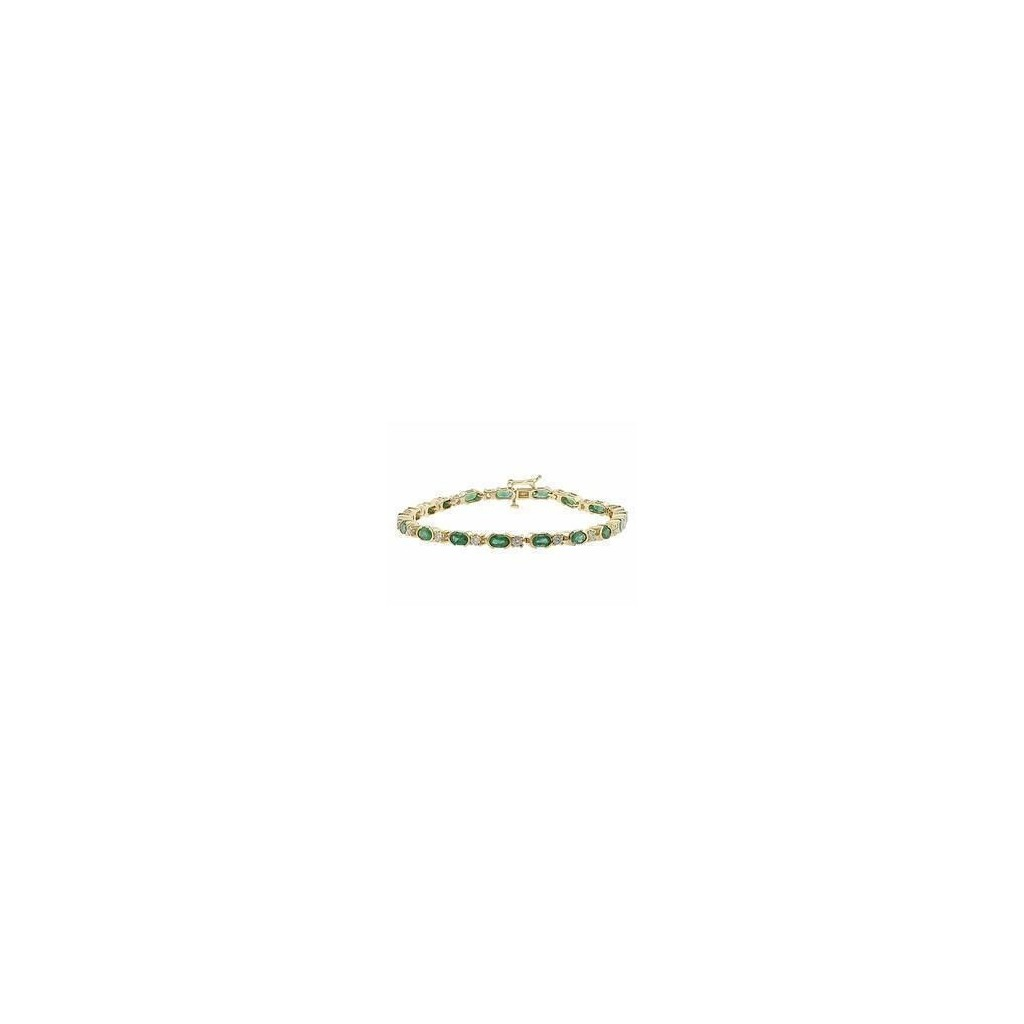 14k yellow gold bracelet 6.84ct Emerald and 0.63ct Diamond