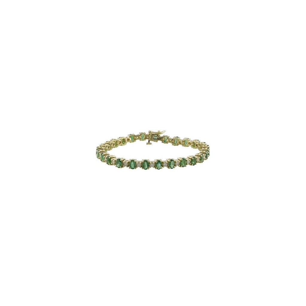 14k yellow gold bracelet 6.38ct Emerald and 1.35ct Diamond