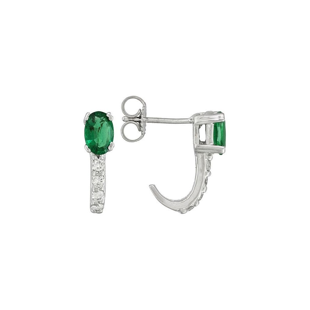 Emerald Diamond Earrings with 1.03 Carats