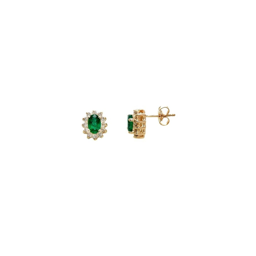 Emerald Diamond Earrings with 1.76 Carats