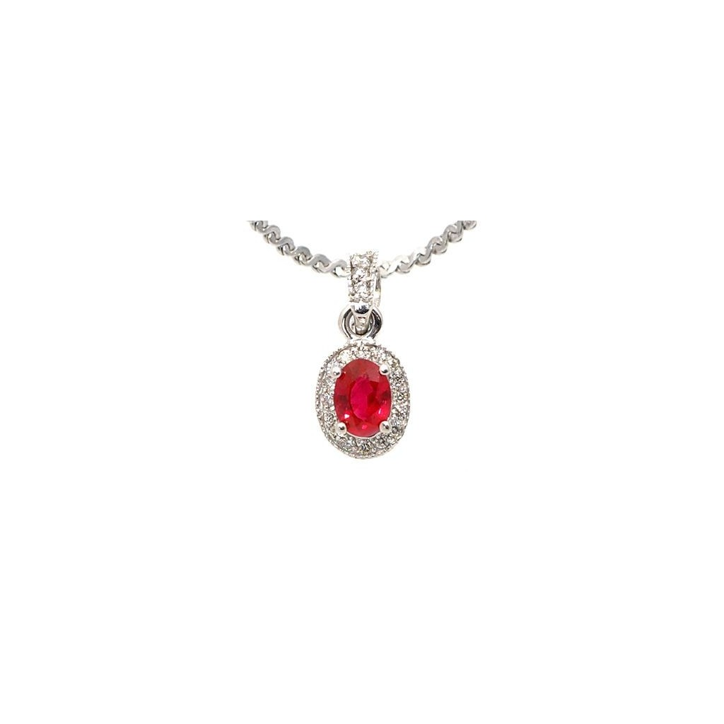 14k white gold neck .76cts ruby and .26cts diamonds