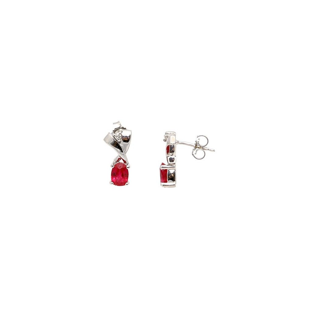 Ruby Diamond Earrings with 1.20 Carats