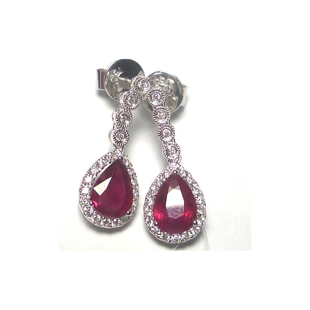 Ruby Diamond Earrings with 2.98 Carat