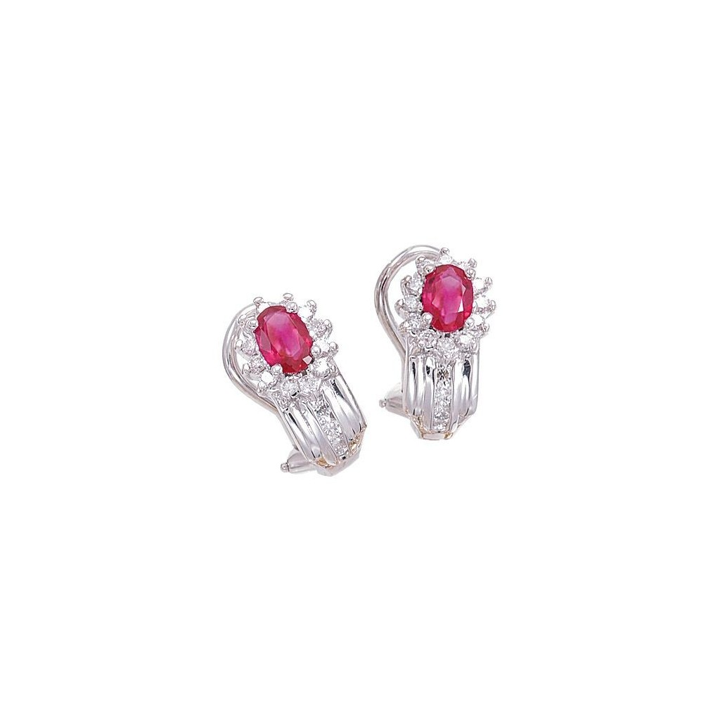 Ruby Diamond Earrings with 1.61 Carat