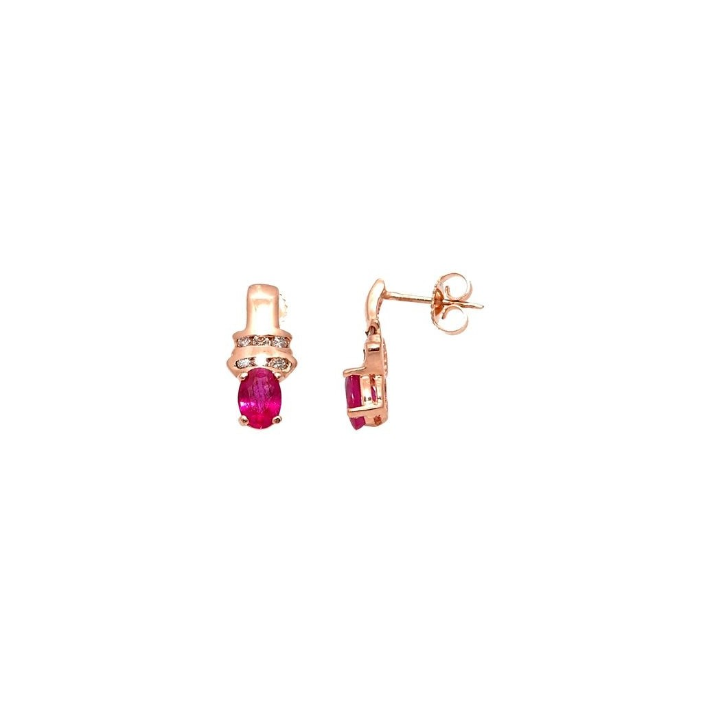 Ruby Diamond Earrings with 1.28 Carat