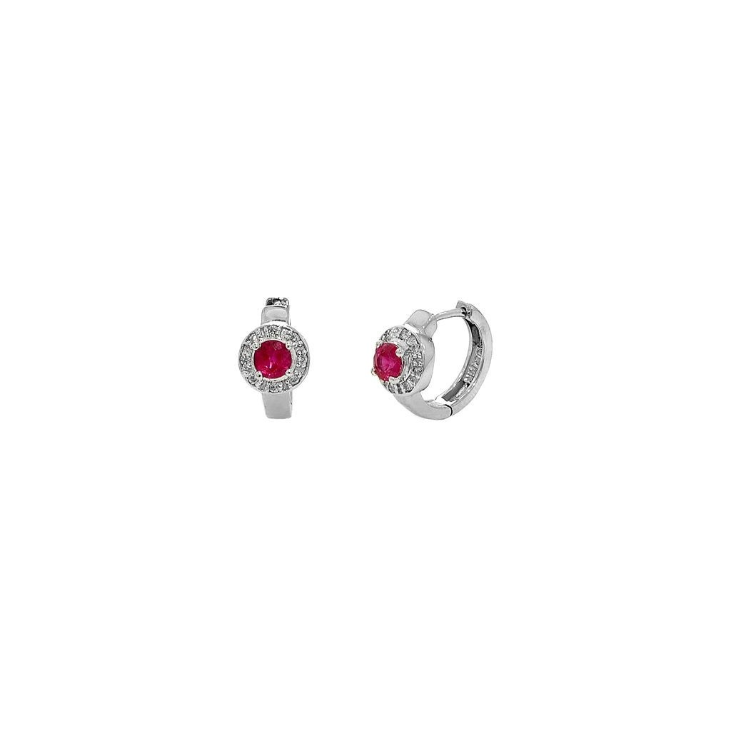 Ruby Diamond Earrings with 0.73 Carats