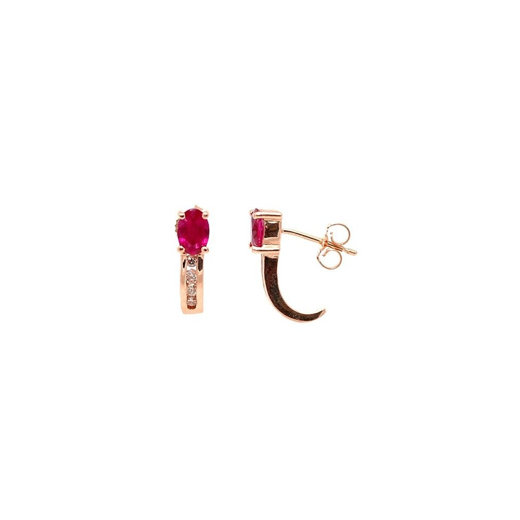 Ruby Diamond Earrings with 1.26 Carat