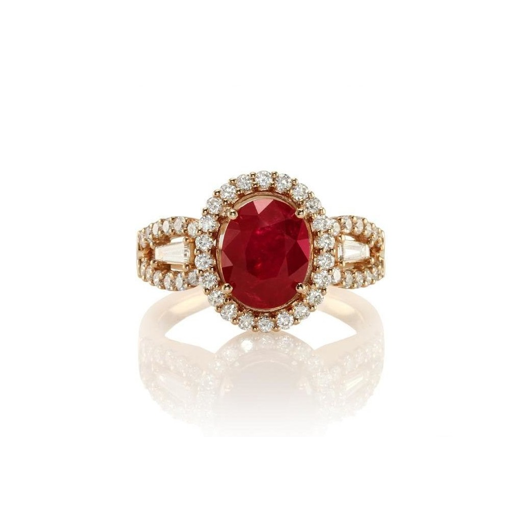 Ruby and Diamond Ring with 3.55 Carats