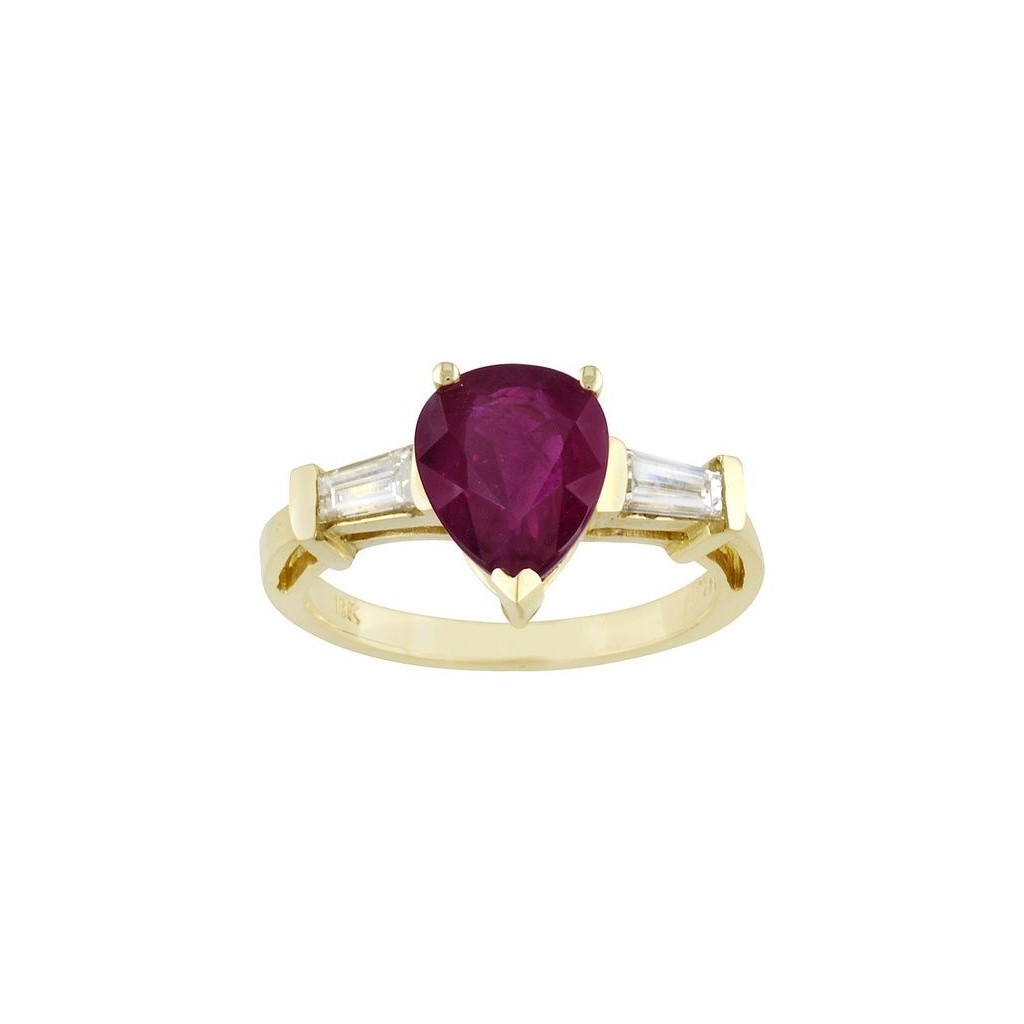 18k yellow gold ring 3.03cts ruby and .44cts diamond