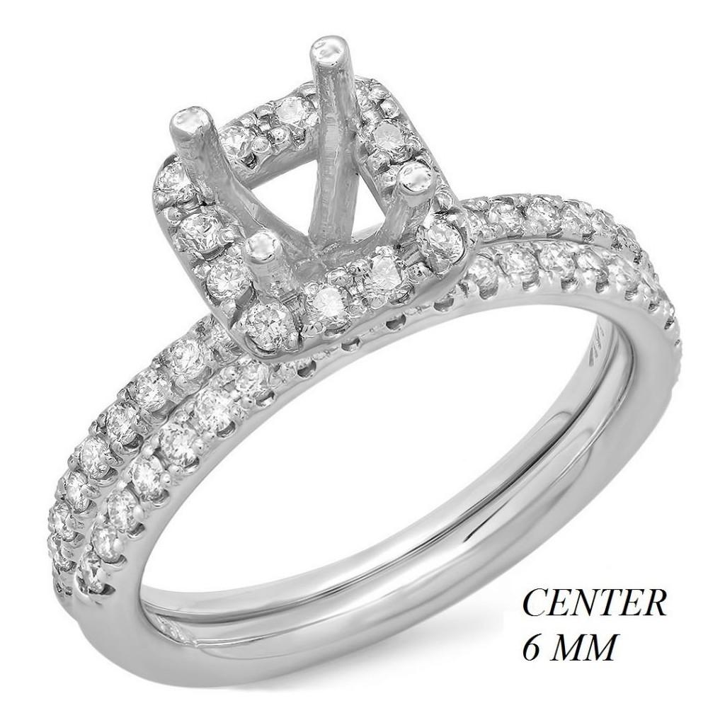 14k White gold Engagement semi-mount with 0.62 carat diamonds.