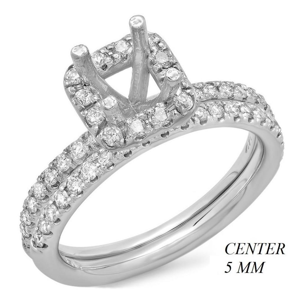 14k White gold Engagement semi-mount with 0.60 carat diamonds.