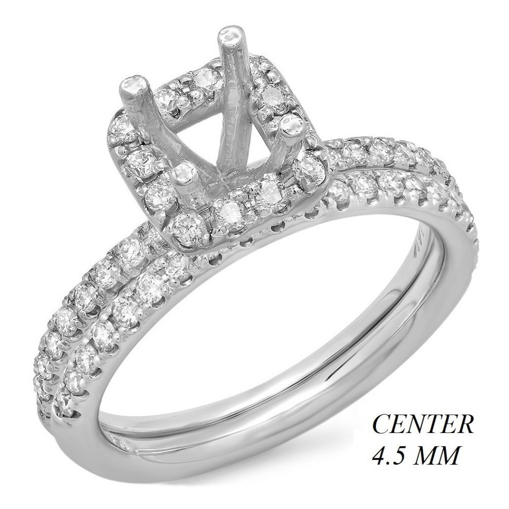 14k White gold Engagement semi-mount with 0.58 carat diamonds.