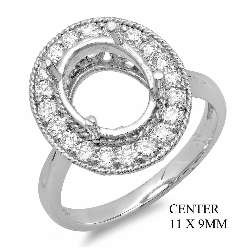 14k White gold Engagement semi-mount with 0.68 carat diamonds.