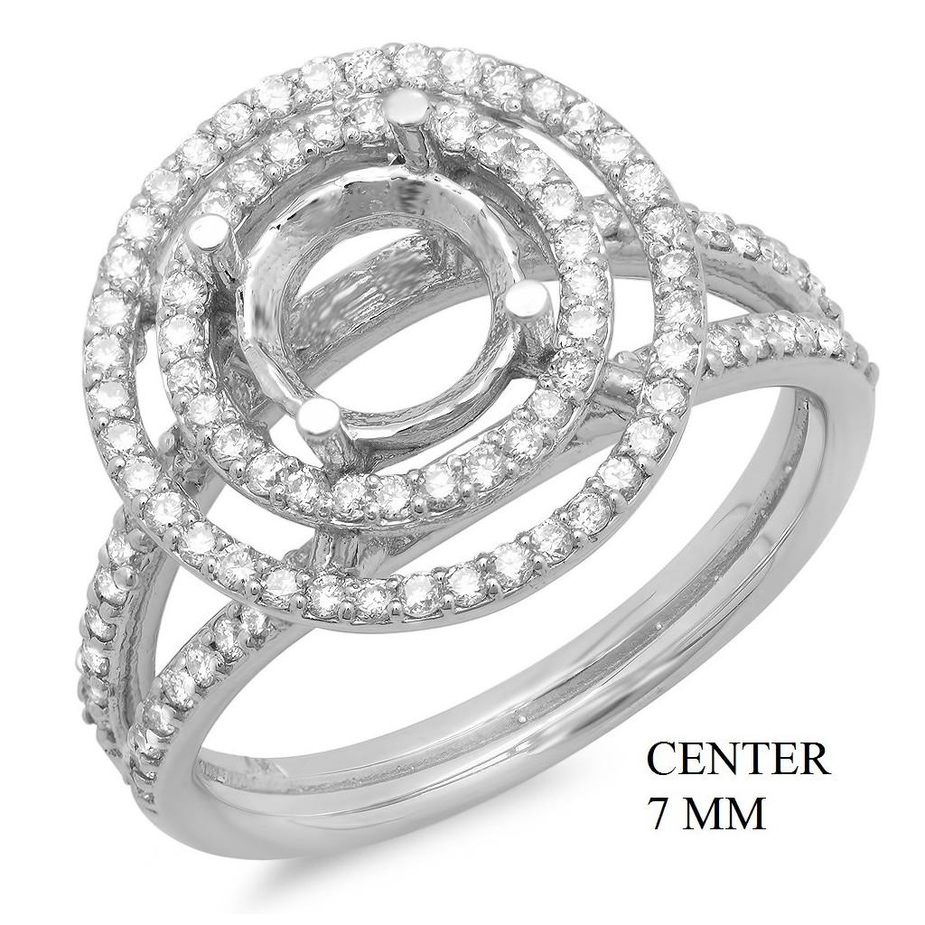 14k White gold Engagement semi-mount with 0.55 carat diamonds.